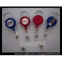 China Plastic carabiner badge reel with badge strap on sale