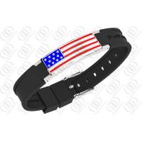 Ionized Silicone Stainless Steel Bracelets With National Flag Pattern Manufactures