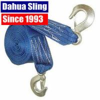 Custom Polyester Recovery Towing Straps Rope With Metal Hook , 50mm Width Manufactures