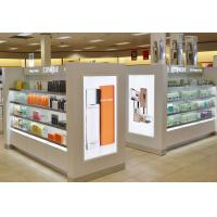 White Wood Makeup Counter Display / Cosmetic Display Shelves Modern Simple Style Manufactures