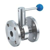 China Low Torque Hygienic Butterfly Valves , Flanged Butterfly Valve Pull Rod Handle on sale