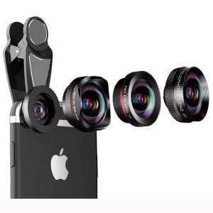4 in 1 wide angle macro fisheye 2x zoom telephoto lens kit for universal smartphones