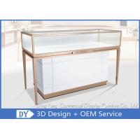 Rose Gold Stainless Steel Frame Jewelry Display Cases With MDF Cabinet Manufactures