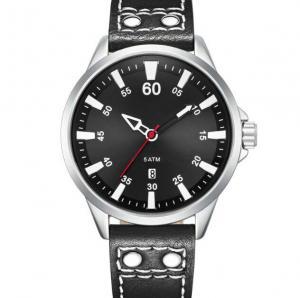 China Leather Strap 5 Atm Waterproof Big Dial Men Quartz Wrist Watch on sale