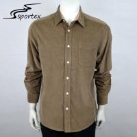 Flannel Brown Mens Casual Long Sleeve Shirts Plain Dyed Technics Free Samples Manufactures