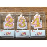 White Candle  Gold painting and Pink line with Cute Crown Number Birthday Candles 0-9 Manufactures