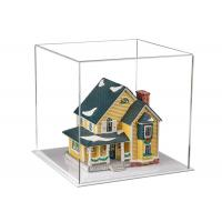 China Medium Square Clear Acrylic Display Boxes Chemical Resistance With White Base on sale