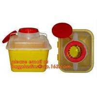 Hospital Medical Waste Box Disposable Plastic Sharp Container,yellow round shape 0.8L 2L 4L 6L bio medical waste bin squ Manufactures