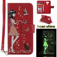 LG G6  Luminous 3D Girl pattern leather Case with Cash Slots Stand Wristlet Strap Manufactures