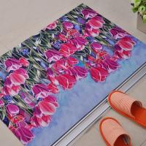 Non-Slip Rubber Floor Carpet With Beautiful Flower Design For Outdoor / Indoor Entrances