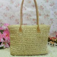 paper straw crochet fashion lady straw shoulder bag 80279 Manufactures