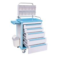 China Movable Hospital ABS Anesthesia Cart Medical Equipment Trolley With 5 Drawers,Medical Storage Carts With Wheels on sale