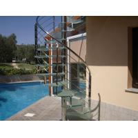 Contemporary stainless handrail glass spiral staircase Manufactures