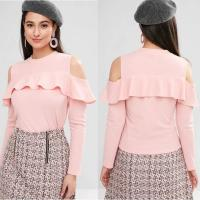 China Cheap Wholesale Ruffle Clothing Long Sleeve Cold Shoulder T Shirt Tops on sale