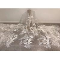 Off White Mesh 3D Flower Embroidery Beaded Lace Fabric 50 Wide 1 Yard Manufactures