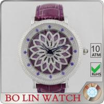 Fulfilling Stones Swiss Quartz Diamond Watch , Silver Color Case Diamond Dial Watch Manufactures