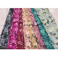 Gold Silver Sequin Fabric , Multi Colored Embroidered Floral Dress Lace Fabric For Gown Manufactures