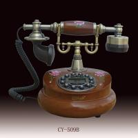 antique wooden telephone with flowers  CY-509B,white color telephone Manufactures