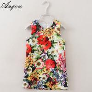 Angou Baby Girl Dress Floral Pattern A-Line Princess Dress Girls European Style Baby Dress Manufactures