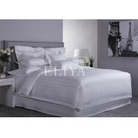 100% Combed Cotton Stripe White Hotel Bed Linens For Medium / Luxury Hotels Manufactures