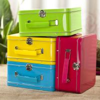 Antique Lunch Boxes With Plastic Handle , Mini Lunch Box Tins Manufactures