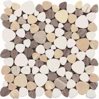 Black And White Glass Mosaic Tiles , 3D Triangle Round Marble Mosaic Wall Tile 30x30 Manufactures