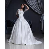 Luxurious Lace Long Sleeved V Neck chiffon Wedding gowns with long trains Manufactures