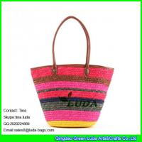 China LUDA colorful straw beach bag wheat straw woven tote bag beach handbag straw bags on sale