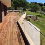 Aluminum u channel frameless glass railing balustrade for glass stair deck railing designs