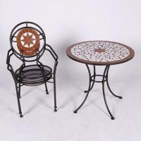 Waterproof Bistro Set with Iron and Mosaic Table