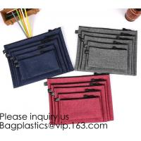 Felt Large Capacity Zipper Stationery Pouch School Solid Organizer Pen Case