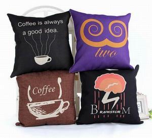 Creative custom print cushion,coffee theme cotton linen cushion,alphabet letters cushion Manufactures