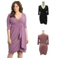 China Long sleeve Light and dark green contrast color Slim Look 3xl plus size dress on sale