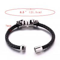 Quality Fashion jewelry custom engraved leather bracelet stainless steel magnetic clasps for sale