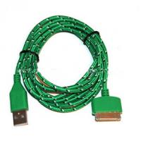Durable 30 Pin To USB Micro Usb Sync Cable 3ft Covered With Green Nylon