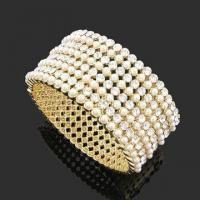 Fashionable Zinc Alloy Bangle, Decorated with Rhinestones/Imitation Pearls, OEM Orders are Welcome Manufactures