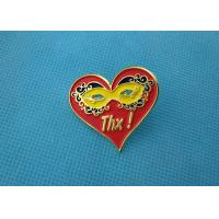 Personalised Die Casting Soft Enamel Pin , Gold Epoxy Pin Badge Heart Shaped Manufactures