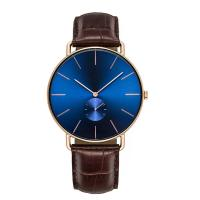 China Luxury Crocodile Leather Wrist Watch , Blue Face Watches With Leather Bands on sale
