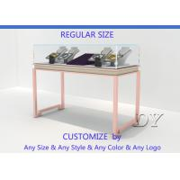 Quality Gorgeous Rose Gold Stain Steel Glass Jewelry Showcases For Sale for sale