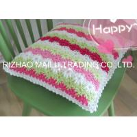China Five Colors Flowers Ripple Shape Crochet Cushion Cover Large Knitted Cushions on sale