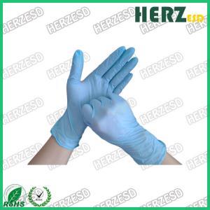 Powder Free Blue Nitrile Disposable Gloves , Finger Dotted ESD Safe Nitrile Gloves Manufactures