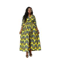 Any Season Can Wear Women Nine Points Sleeve Of  African Printed Dresses, The Waist Belt Manufactures