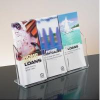 Exquisite Clear Acrylic Holder Stand For Brochure Display , 3 Pocket Manufactures
