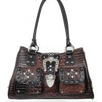 croco pattern western handbags with rhinestone and rivets direct from factory Manufactures