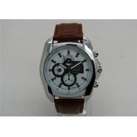 China Luxury 22mm Brown Leather Strap Watches for men , 1ATM Waterproof on sale