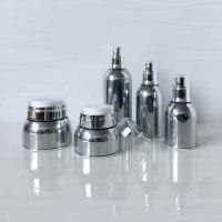 Shiny Silver Luxury Acrylic Cosmetic Skin Care UseBottle And Jar Set Manufactures
