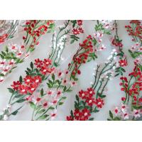 Multi Colored Embroidered Mesh Lace Fabric , 47 Inch Floral Wedding Gown Lace Fabric Manufactures