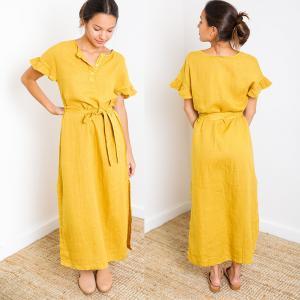 Buy cheap Paloma Mustard Short Sleeve Button Down Slit Maxi Linen Dress from wholesalers
