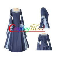 Medieval Dress Wholesale XXS to XXXL Customize Light Blue Medieval And Renaissance Dress With Trumpet Sleeves For Gothic Manufactures