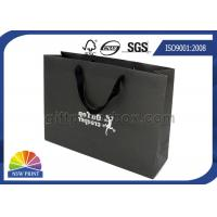 Durable Black Matte Cotton Handle Custom Paper Shopping Bags for Clothing Apparel Manufactures